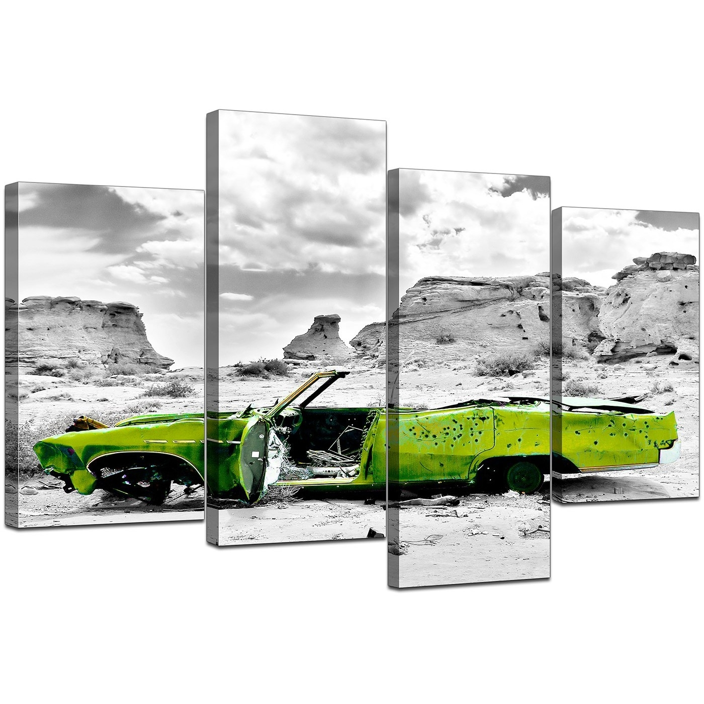 Canvas Art Of Green Car In Black & White For Your Office Within 4 Piece Wall Art (View 20 of 20)
