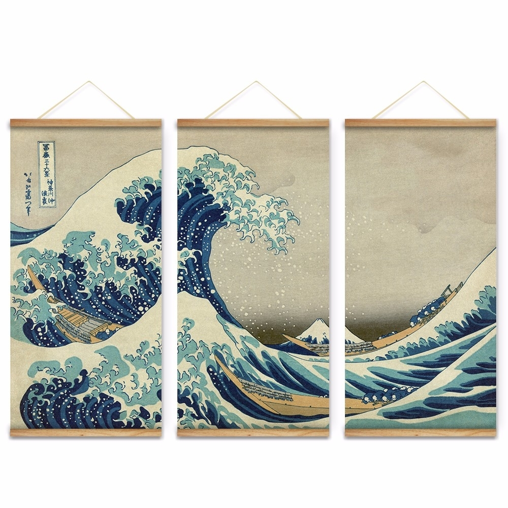 Canvas Painting The Great Wave Off Kanagawa Abstract Wall Art for Abstract Wall Art (Image 10 of 20)