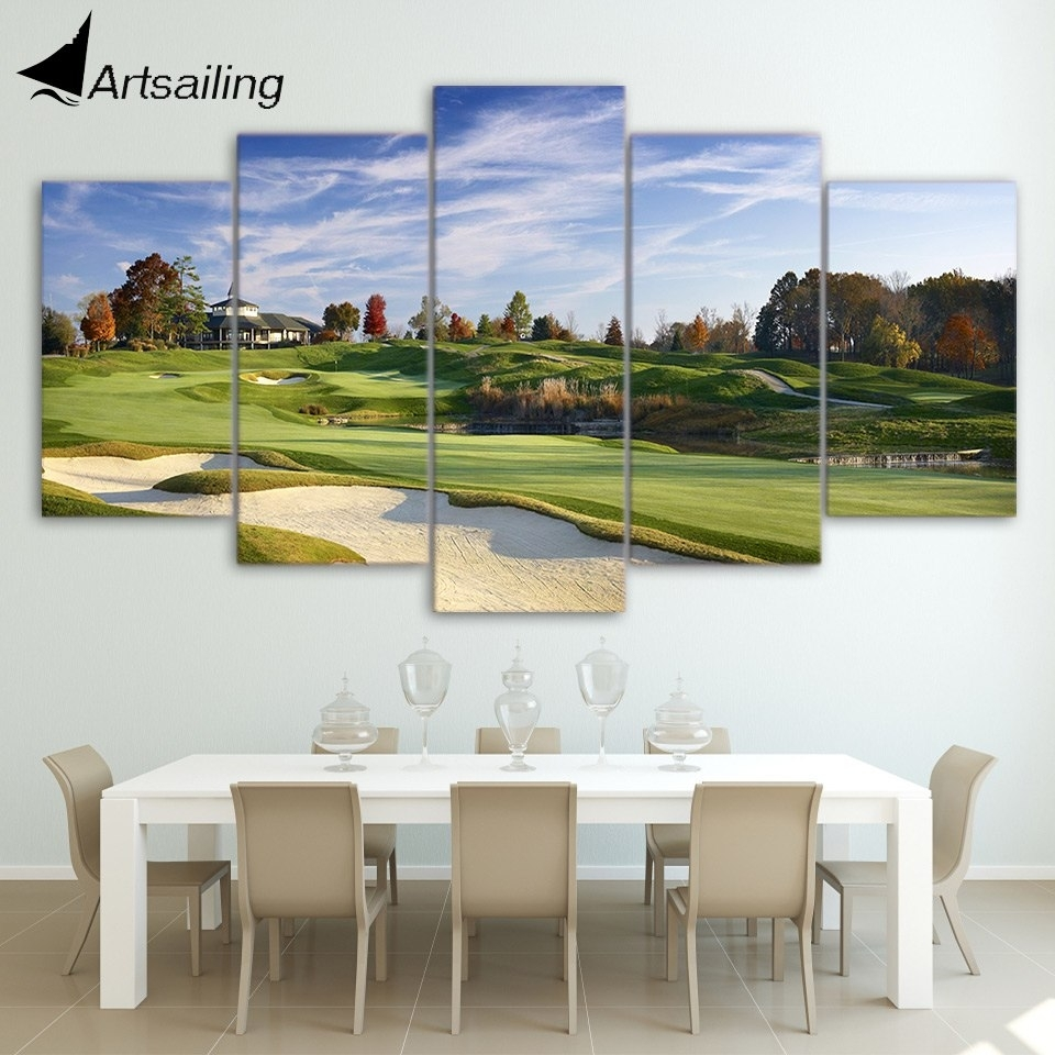 Canvas Paintings Printed 5 Pieces Golf Course Wall Art Canvas With Regard To Golf Canvas Wall Art (View 4 of 20)