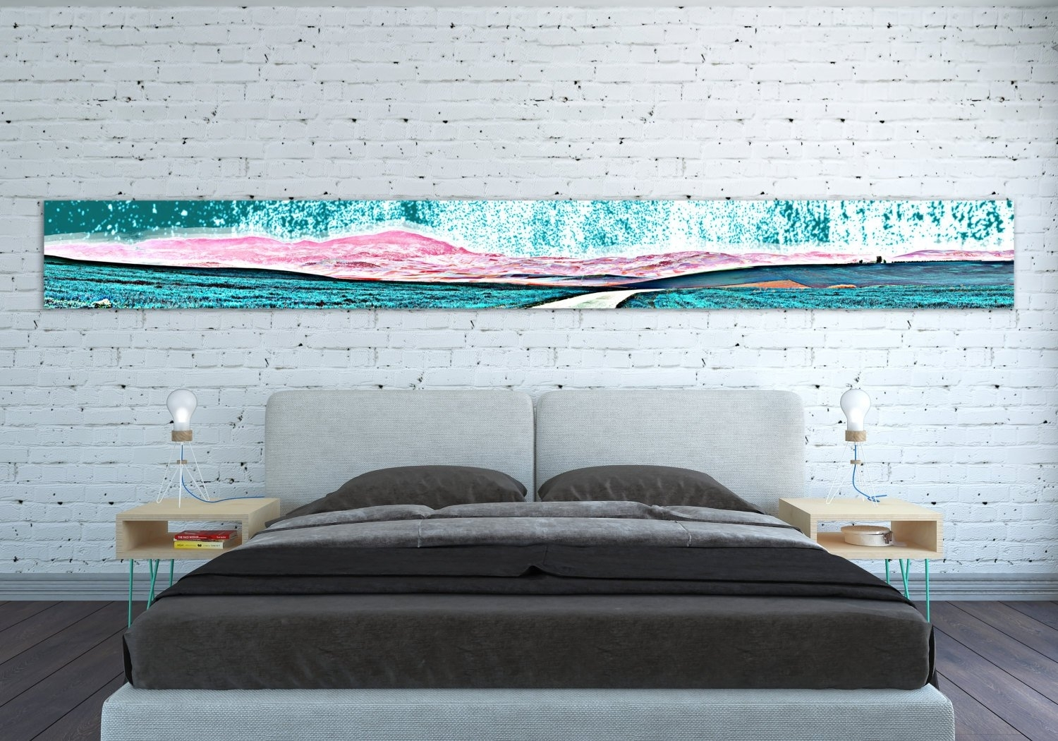 Canvas Print Horizontal Extra Long Narrow Large Abstract Wall Art with regard to Oversized Teal Canvas Wall Art (Image 4 of 20)