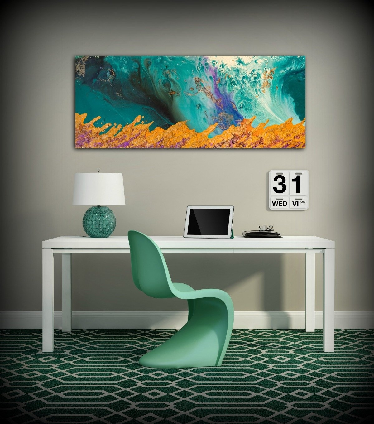 Canvas Print Wall Decor Large Abstract Wall Art Teal And Orange in Oversized Teal Canvas Wall Art (Image 5 of 20)