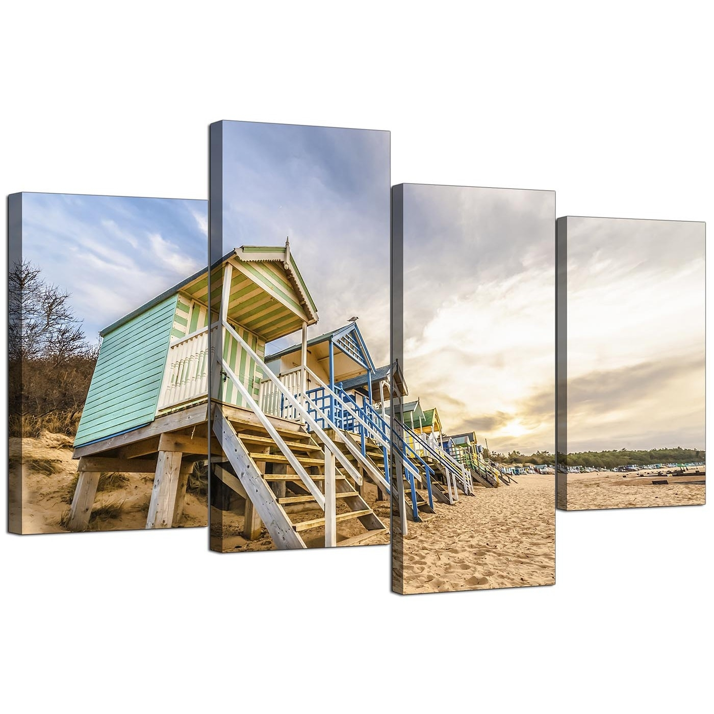 Canvas Wall Art Of Beach Huts For Your Living Room - Set Of 4 regarding Cheap Large Canvas Wall Art (Image 12 of 20)