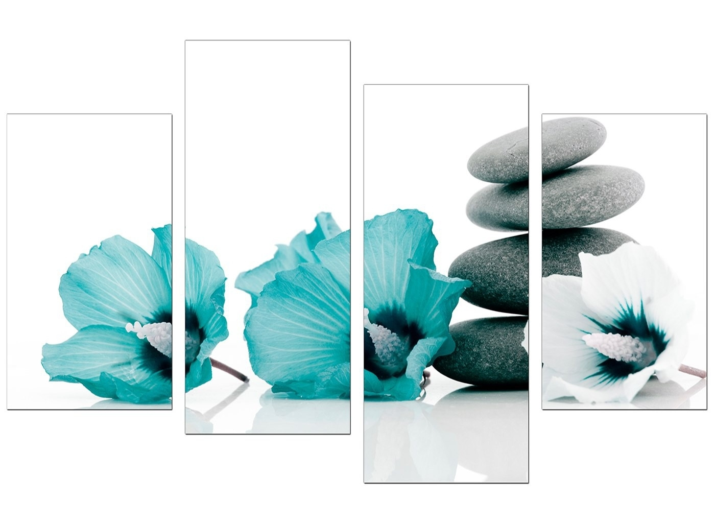Canvas Wall Art Of Flowers In Teal For Your Living Room with Teal Wall Art (Image 5 of 20)
