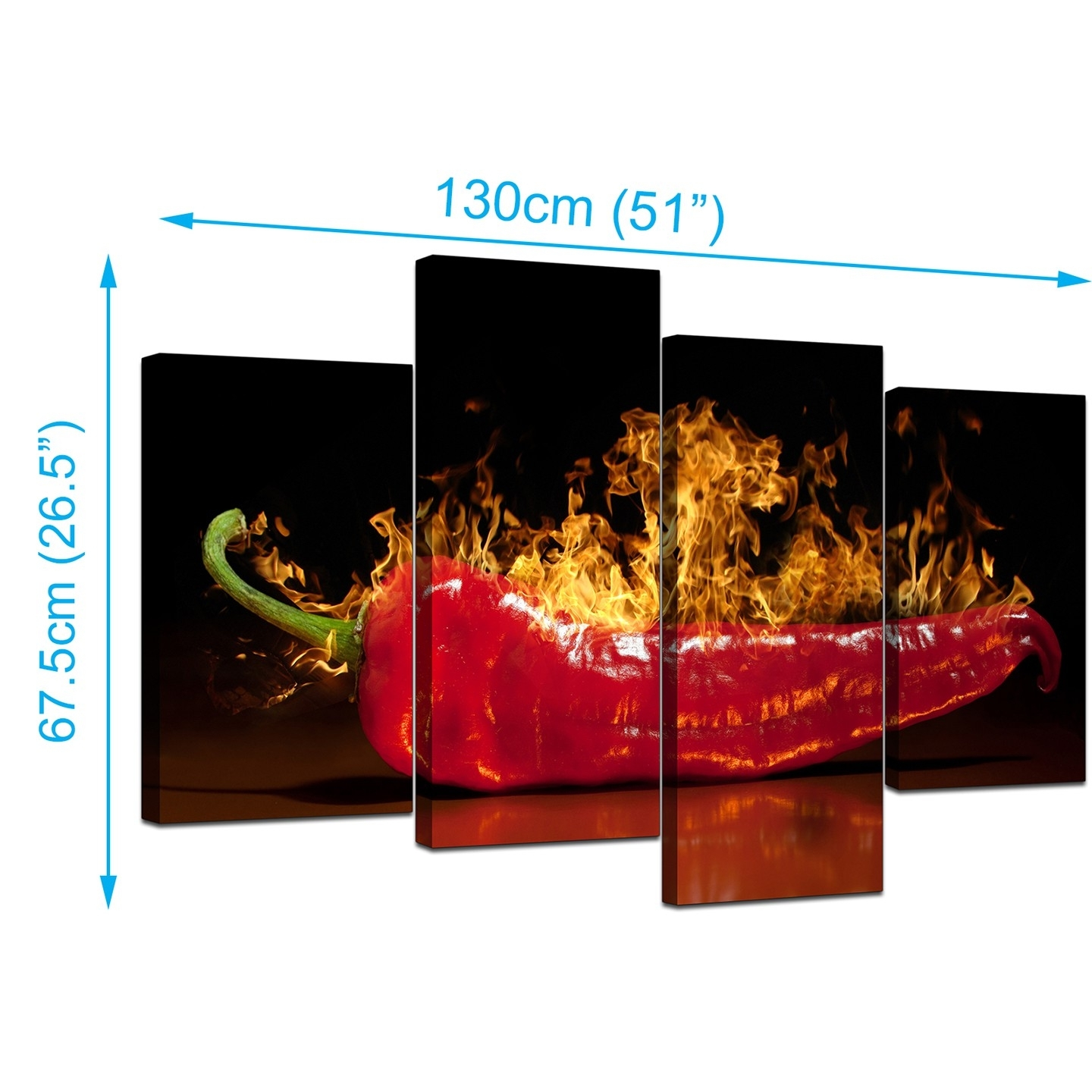 Canvas Wall Art Of Red Chili On Fire For Your Kitchen In Kitchen Canvas Wall Art (View 10 of 20)