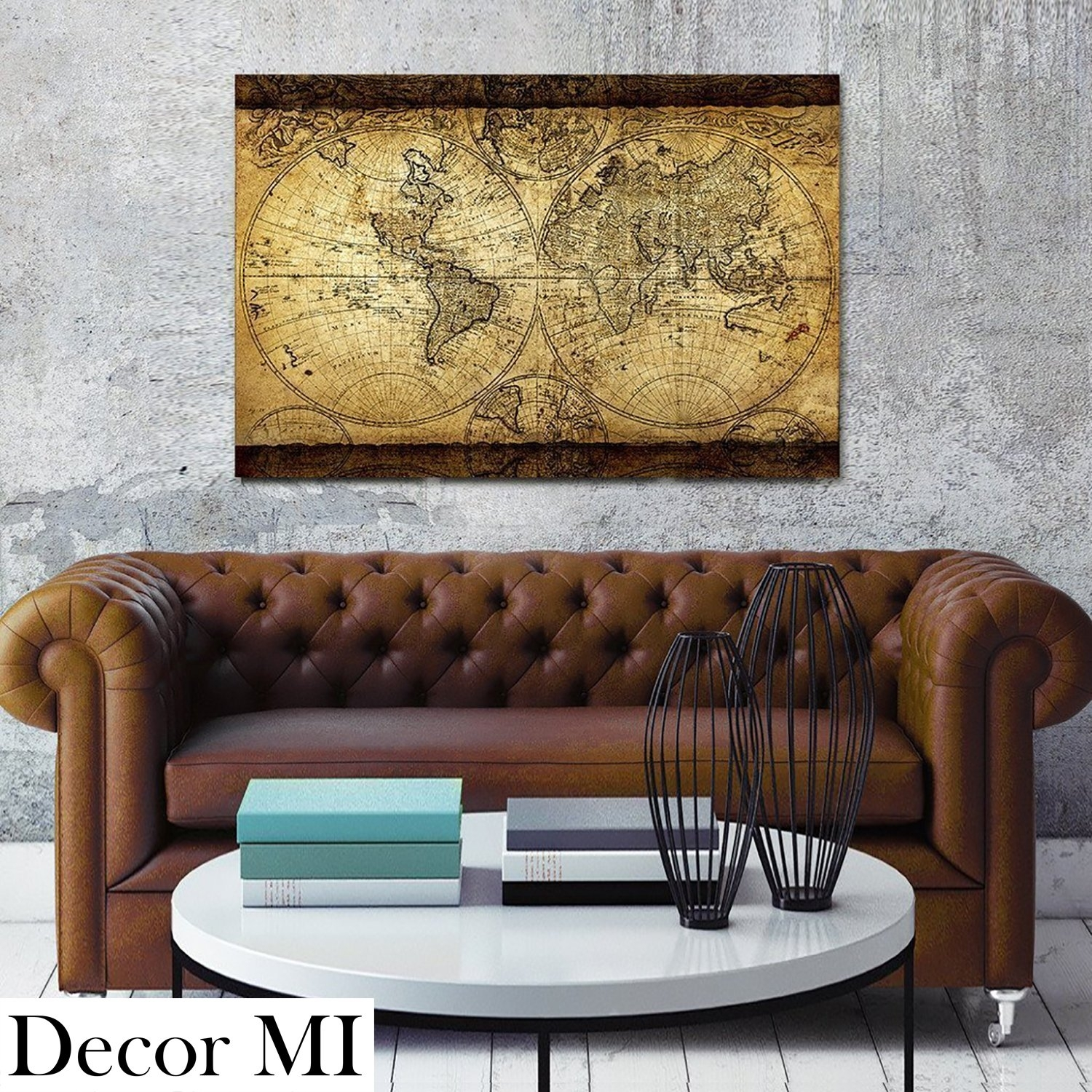 Canvas Wall Art Vintage Retro World Map For Living Room Office Home within Vintage Map Wall Art (Image 3 of 20)