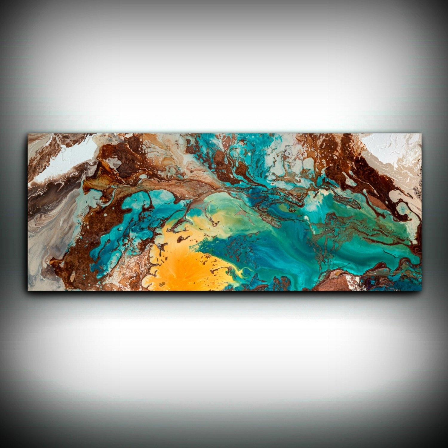 Canvas Wall Decor Large Abstract Wall Art Print Blue Brown Modern intended for Oversized Teal Canvas Wall Art (Image 7 of 20)