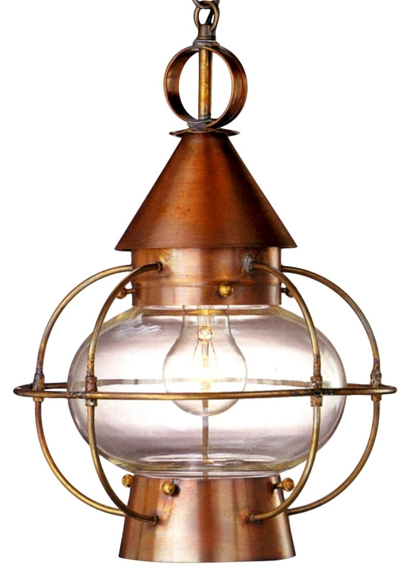 Cape Cod Onion Electric Copper Lantern Hanging Pendant Light within Outdoor Hanging Electric Lanterns (Image 5 of 20)
