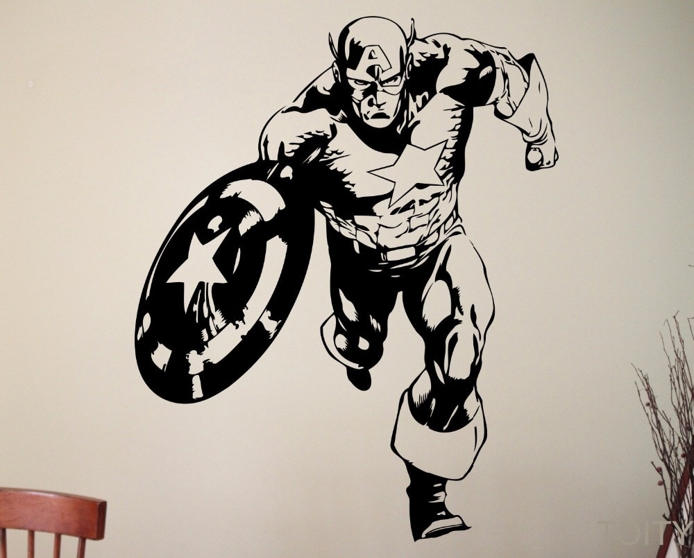Captain America Sticker Super Hero Wall Decal Marvel Comics Art for Captain America Wall Art (Image 7 of 20)