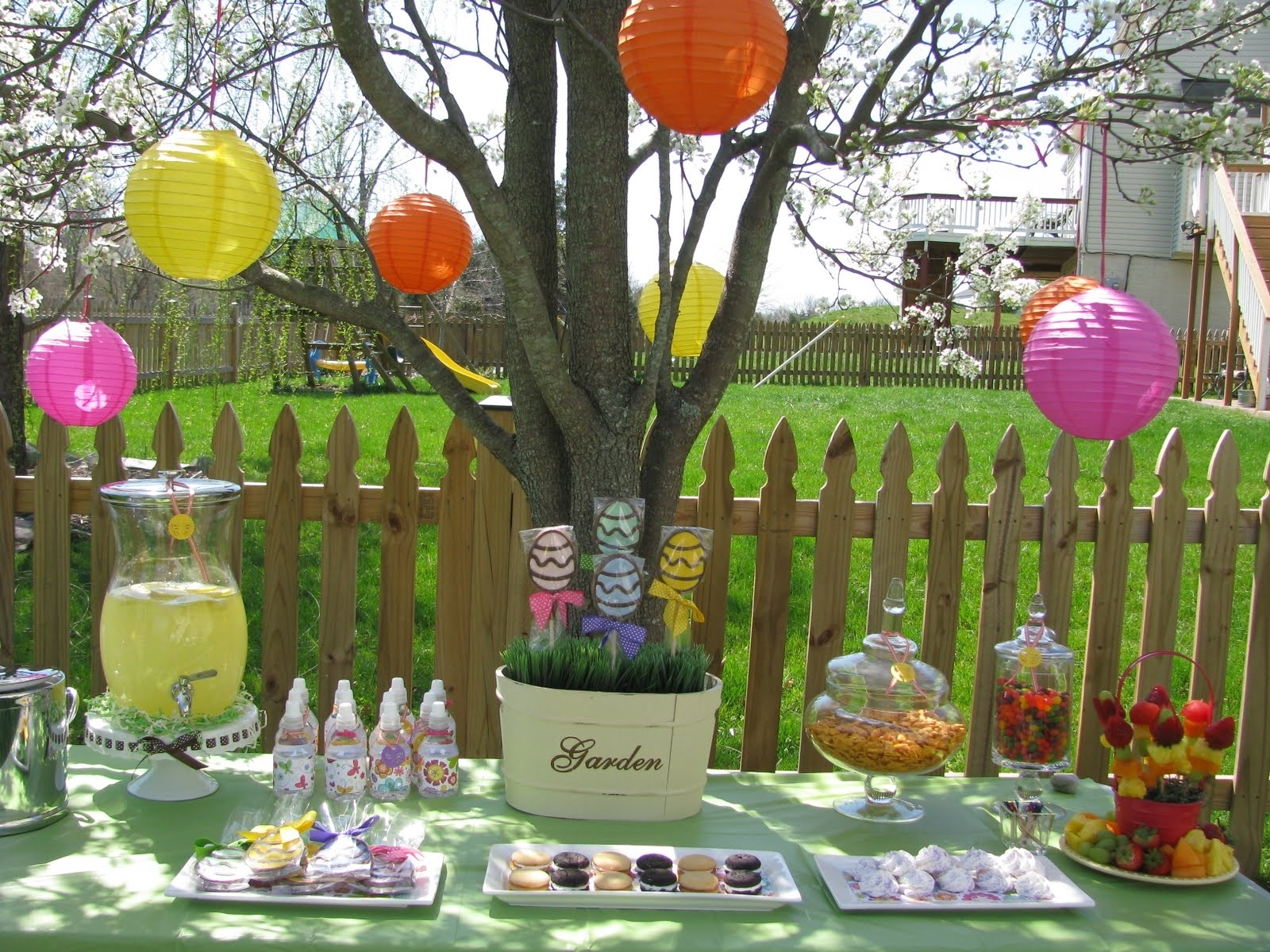 Captivating Outdoor Easter Dessert Table Decoration With Colorful Throughout Colorful Outdoor Lanterns (View 5 of 20)