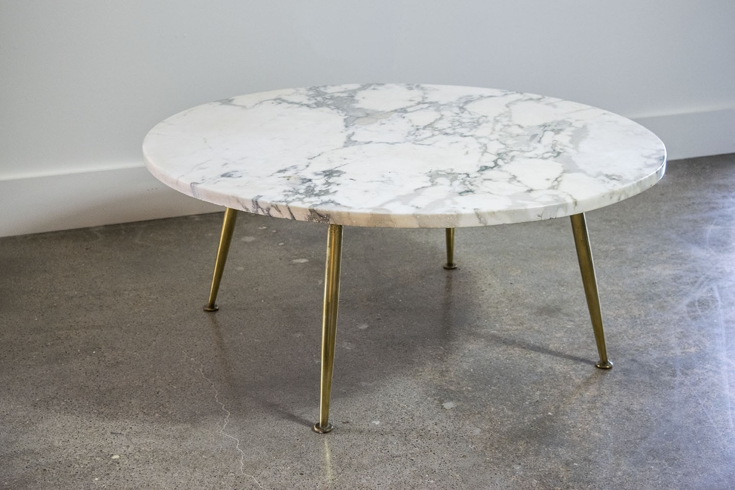 Carrera Marble Coffee Tables Italian Table With Brass Legs Sold 7 12 Regarding Smart Round Marble Brass Coffee Tables (View 6 of 30)