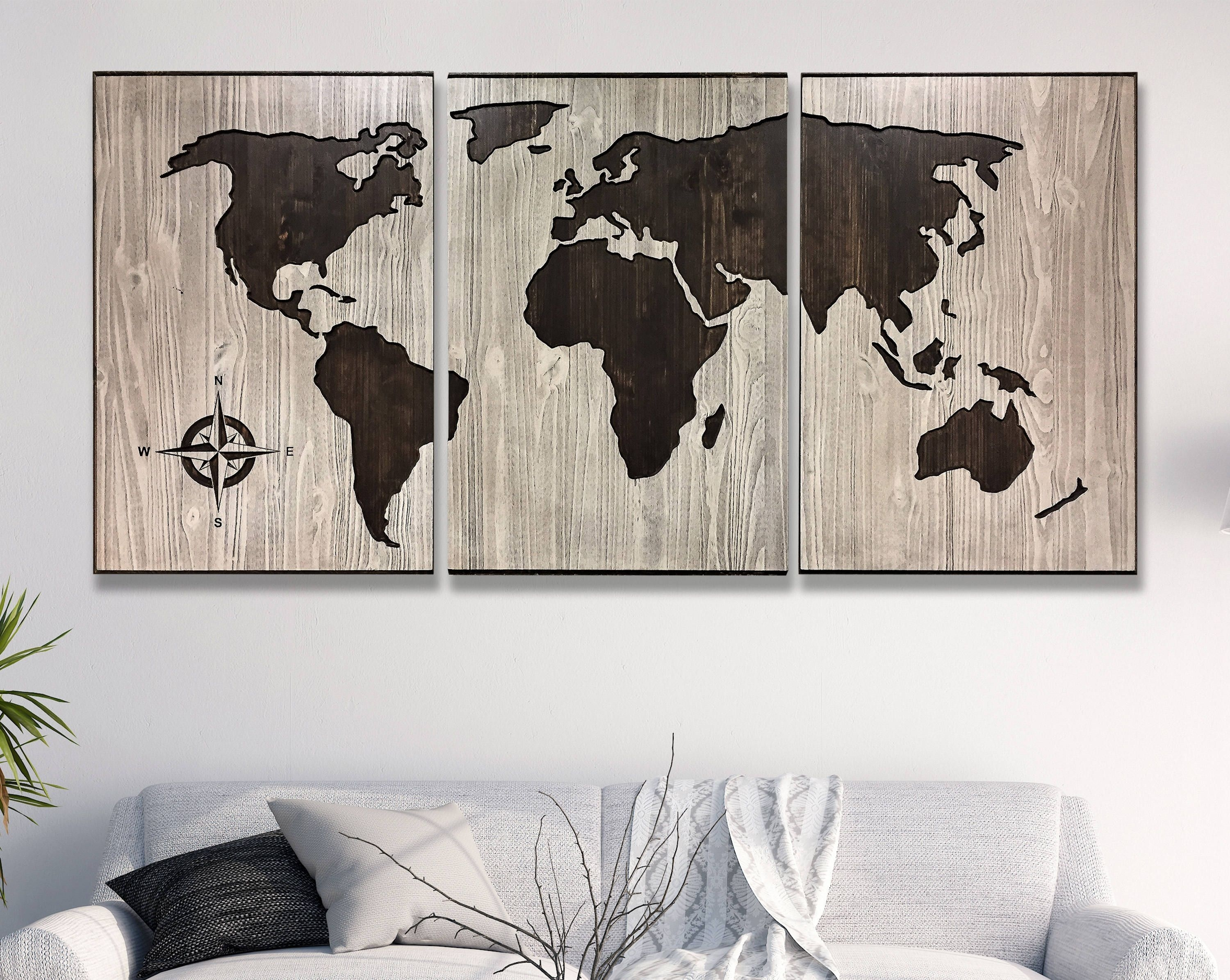 Carved, 3d Wall Art, World Map Wall Art, Anniversary Gift, Husband In Wall Art Map Of World (View 20 of 20)