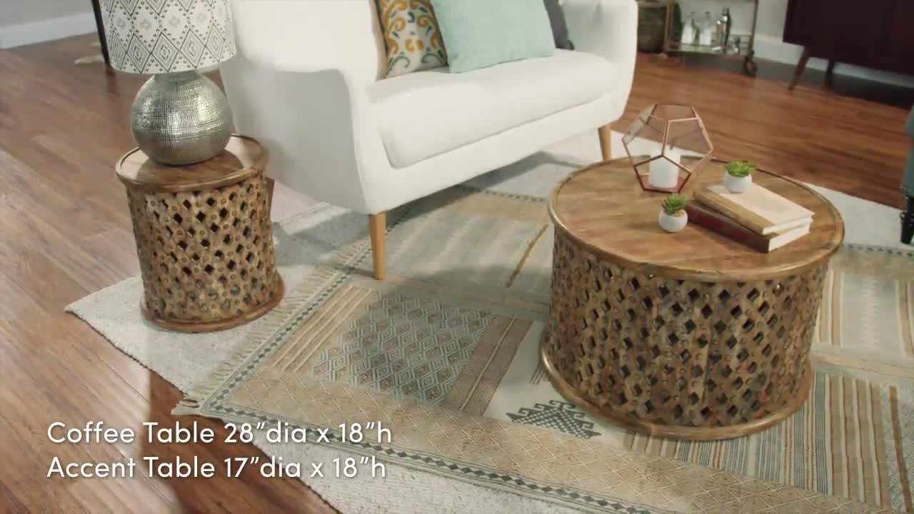 Carved Wood Coffee Tables Round Tribal Table World Market 1280×720 inside Round Carved Wood Coffee Tables (Image 6 of 30)