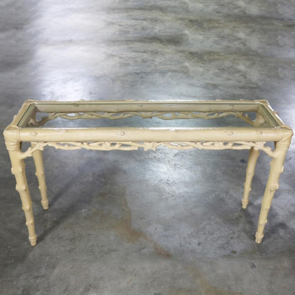 Carved Wood Faux Bois Sofa Console Table With Ivory Painted pertaining to Faux Bois Coffee Tables (Image 7 of 30)