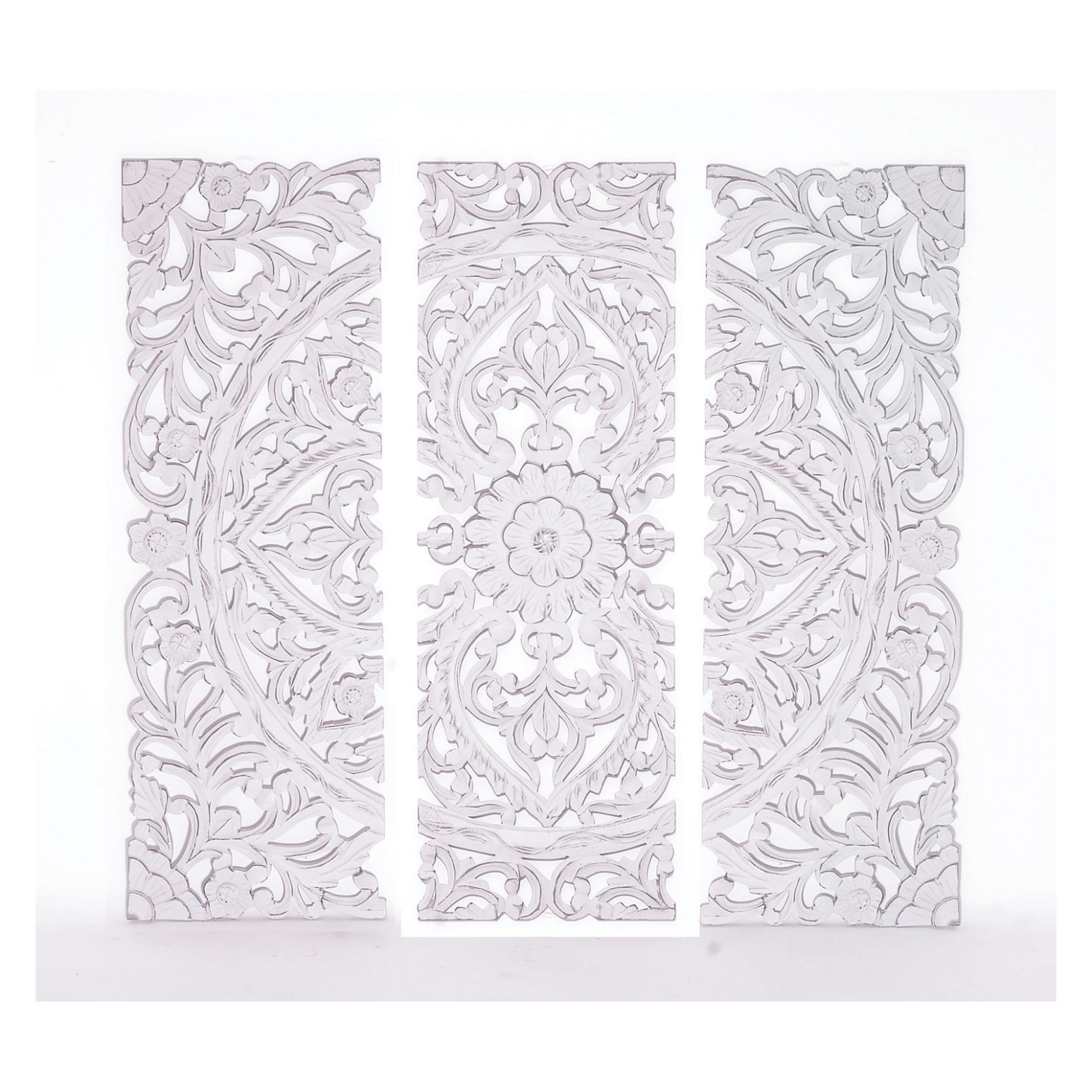 Carved Wood Wall Art White - Umatobi regarding Carved Wood Wall Art (Image 9 of 20)