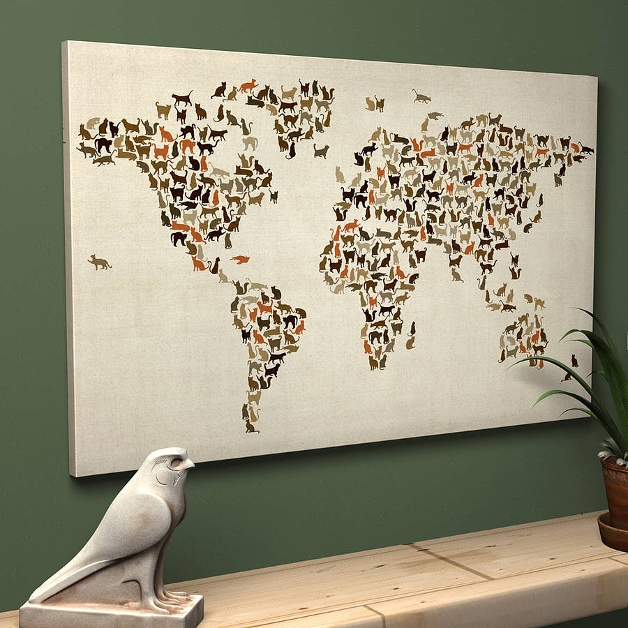 Cats World Map Art Printartpause | Notonthehighstreet with Map Of The World Wall Art (Image 2 of 20)
