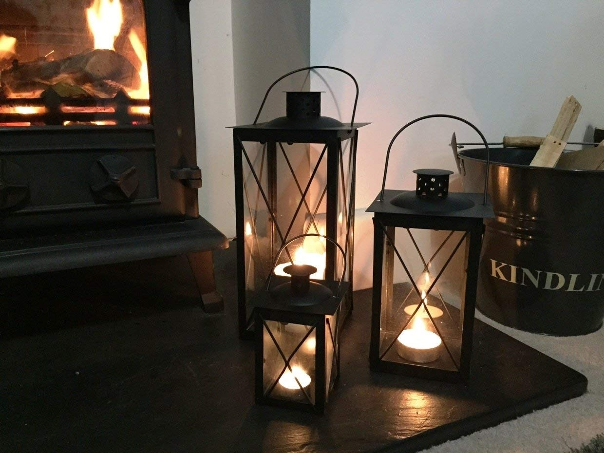 Cavendish Candle Lanterns (Set Of 3) - Black: Amazon.co.uk: Garden with regard to Outdoor Tea Light Lanterns (Image 1 of 20)