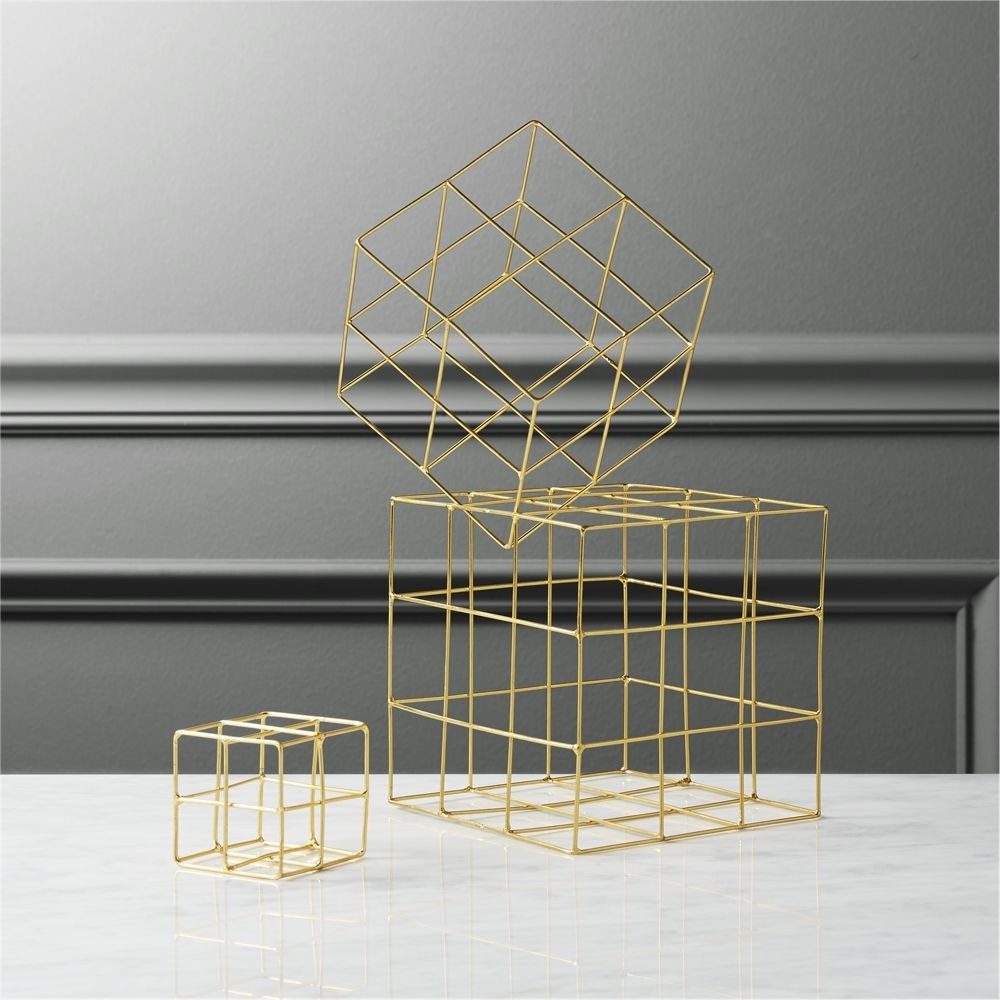 Cb2 3-Piece Brass Wire Cube Set | Domino intended for Brass Iron Cube Tables (Image 10 of 30)