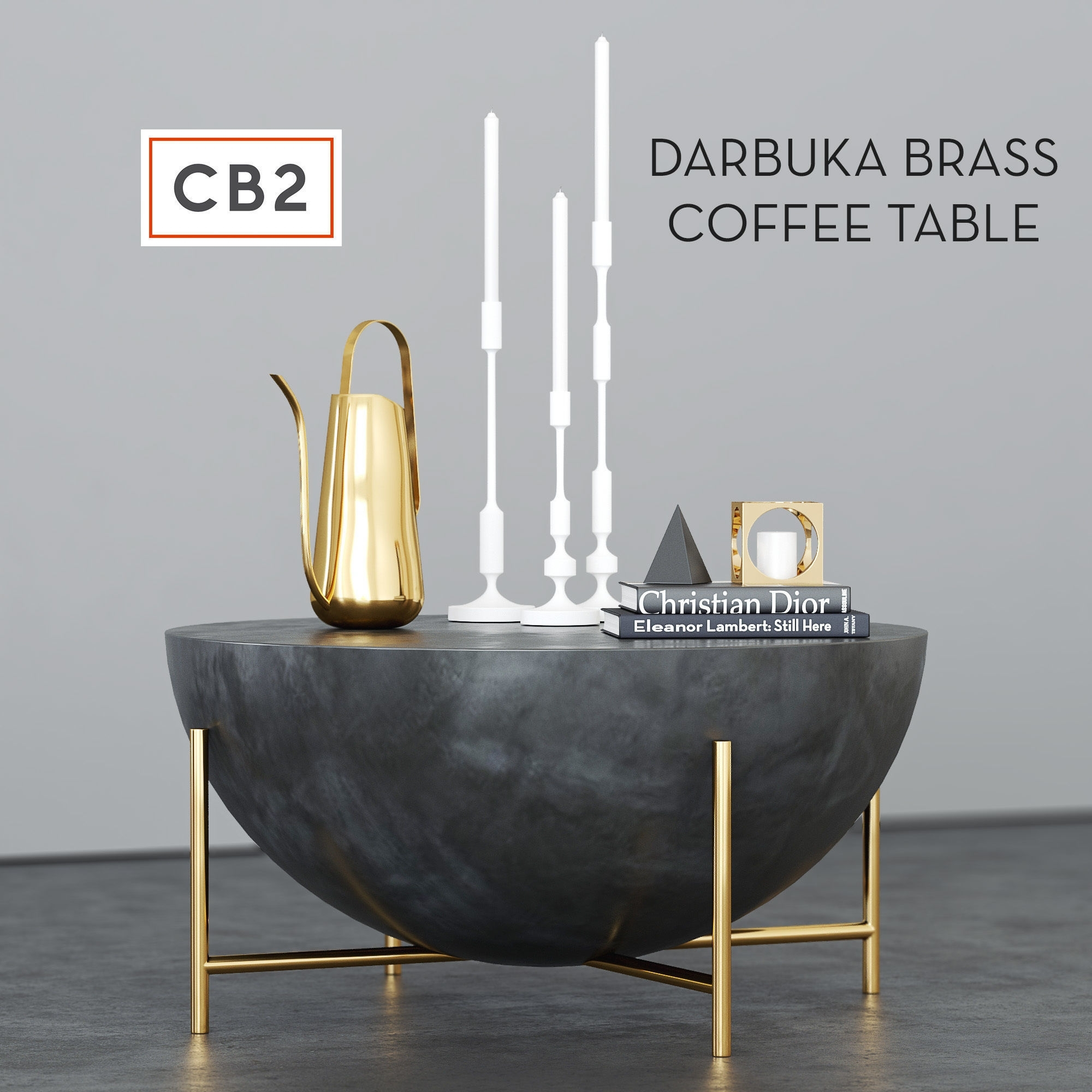 Cb2 Darbuka Brass Coffee Table 3D | Cgtrader inside Darbuka Black Coffee Tables (Image 4 of 30)
