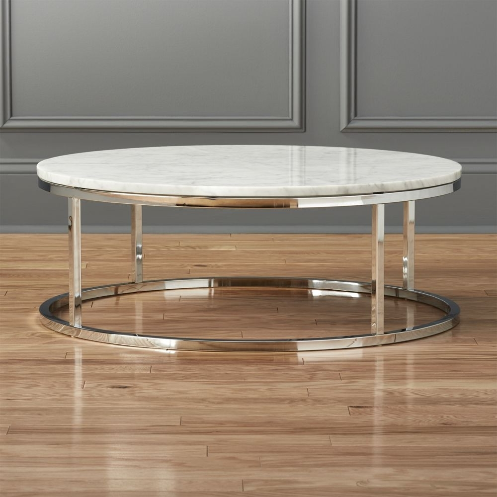 Cb2 Smart Round Marble Top Coffee Table | Domino Throughout Smart Glass Top Coffee Tables (View 9 of 30)