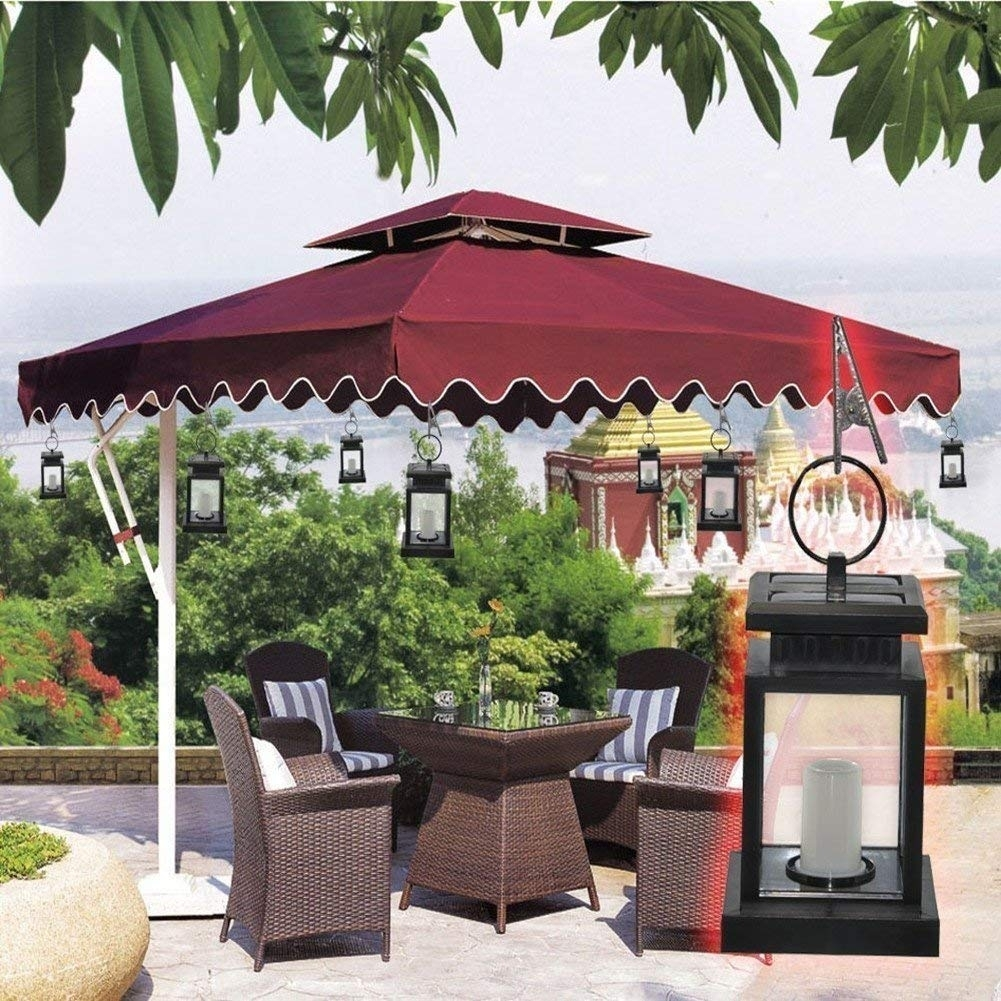 Cdq Vintage Solar Umbrella Lights, Outdoor Led Umbrella Lantern Hang with regard to Outdoor Gazebo Lanterns (Image 6 of 20)