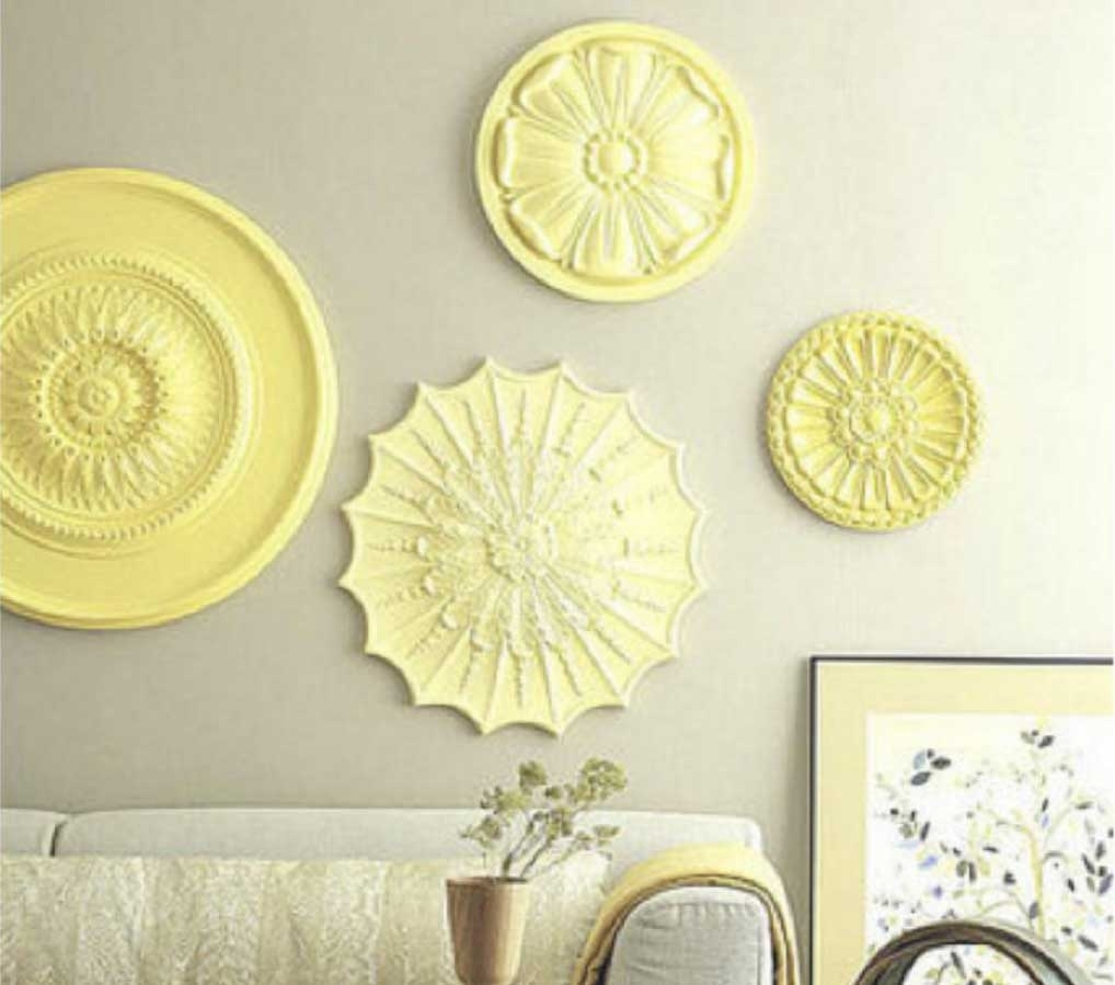 Ceiling Medallion Wall Art With Yellow Color Ideas within Ceiling Medallion Wall Art (Image 6 of 20)