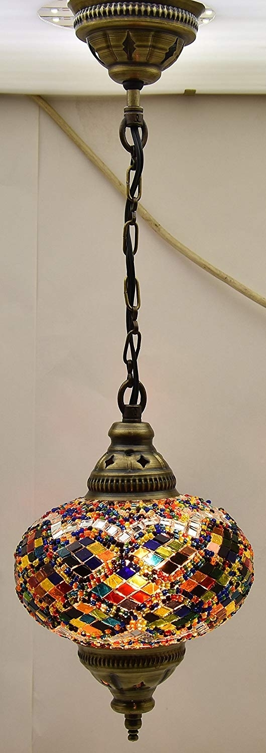 Ceiling Pendant Fixtures, Mosaic Lamps, Turkish Lamps, Hanging In Outdoor Mosaic Lanterns (View 4 of 20)