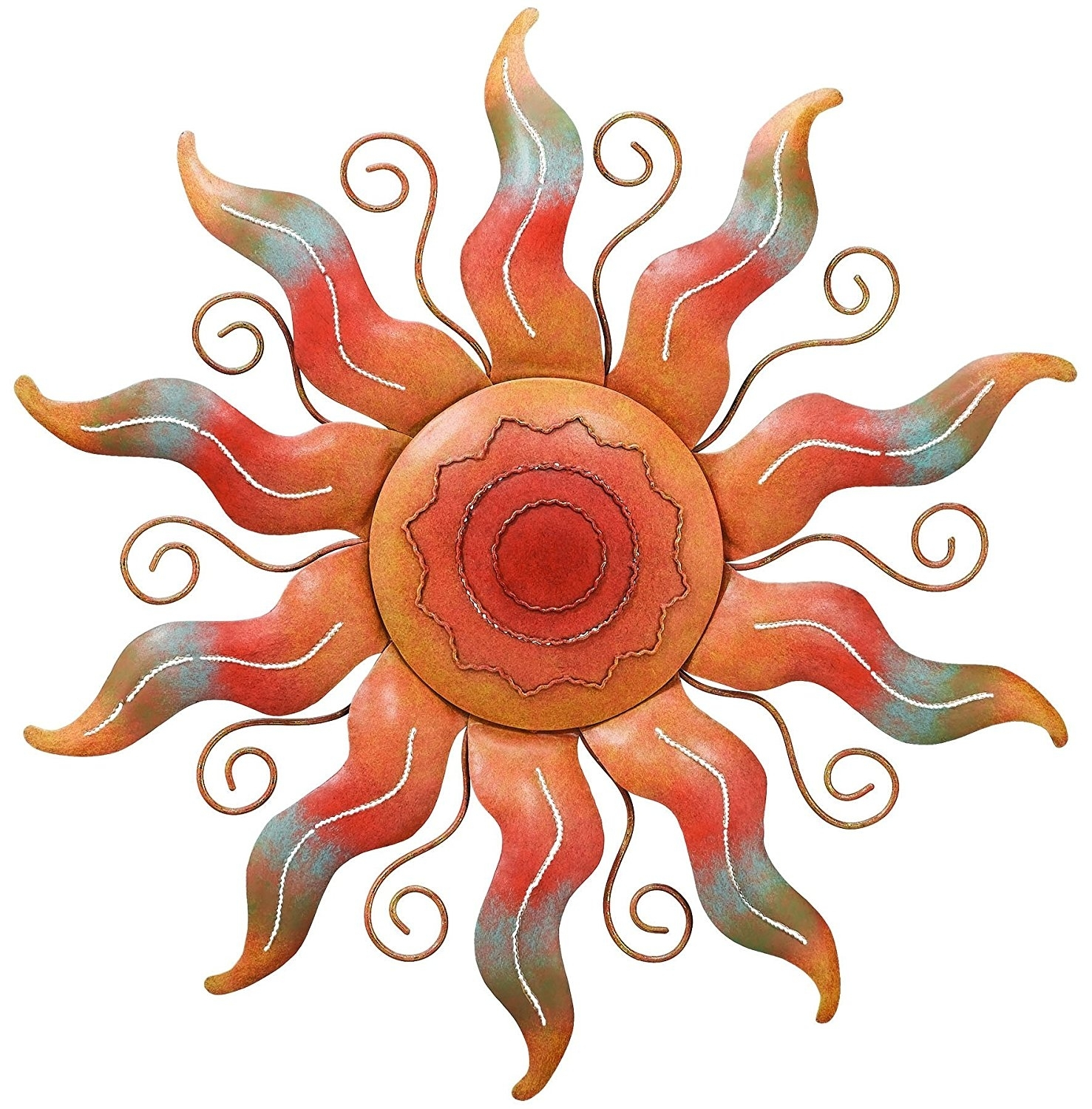 Ceramic Sun Wall Decor Large And Moon Metal Art Outdoor Christmas for Outdoor Sun Wall Art (Image 3 of 20)