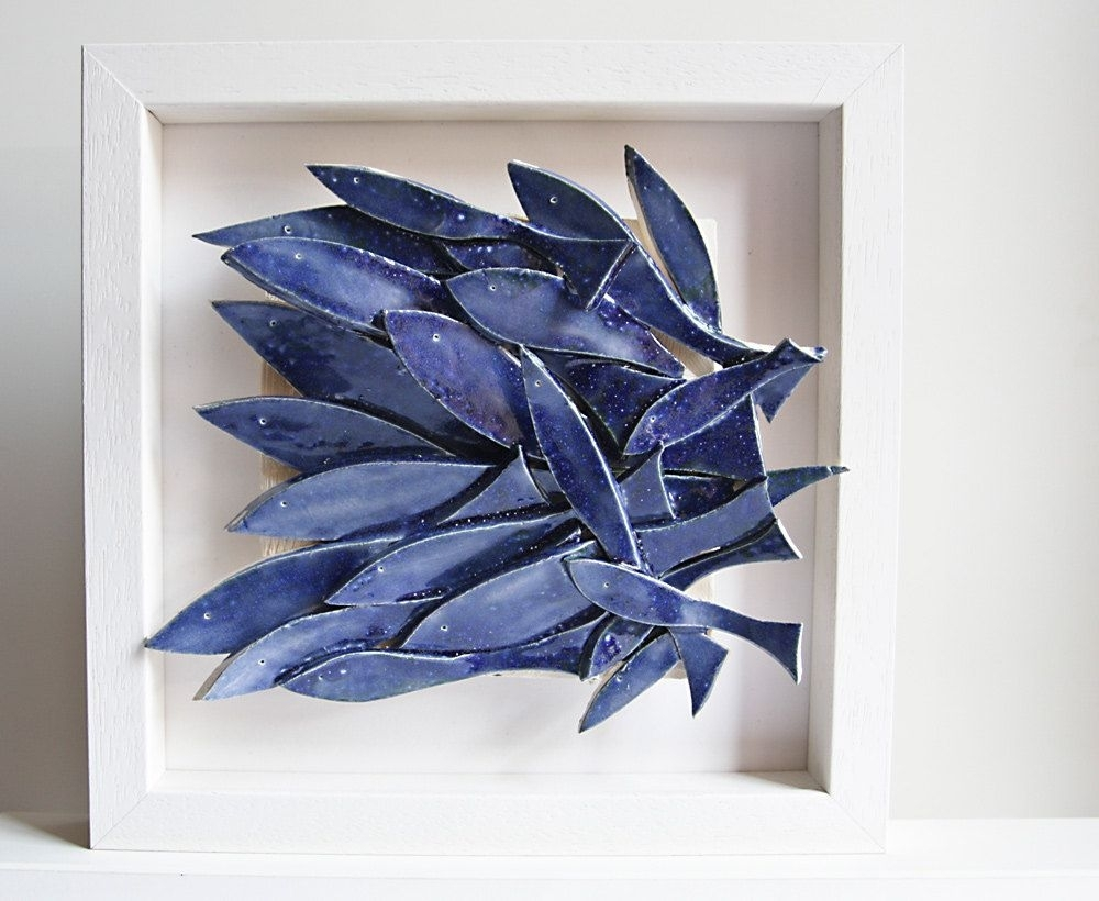 Ceramic Wall Art, Ceramic Fish Art, Sculptural Pottery Tile, Wall regarding Ceramic Wall Art (Image 9 of 20)