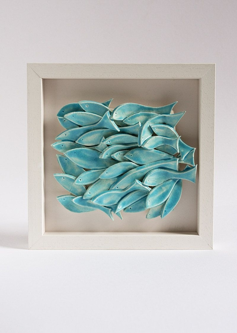 Ceramic Wall Art, Ceramic Fish Art, Sculptural Pottery Tile, Wall within Ceramic Wall Art (Image 10 of 20)