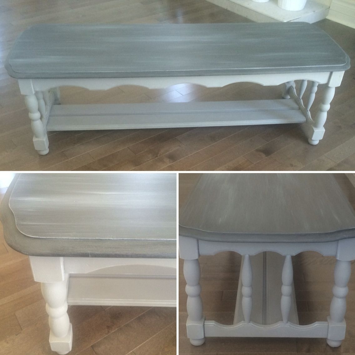 Chalk Painted Two Tone Gray Solid Wood Coffee Table. | Chalk Paint with 2 Tone Grey and White Marble Coffee Tables (Image 8 of 30)