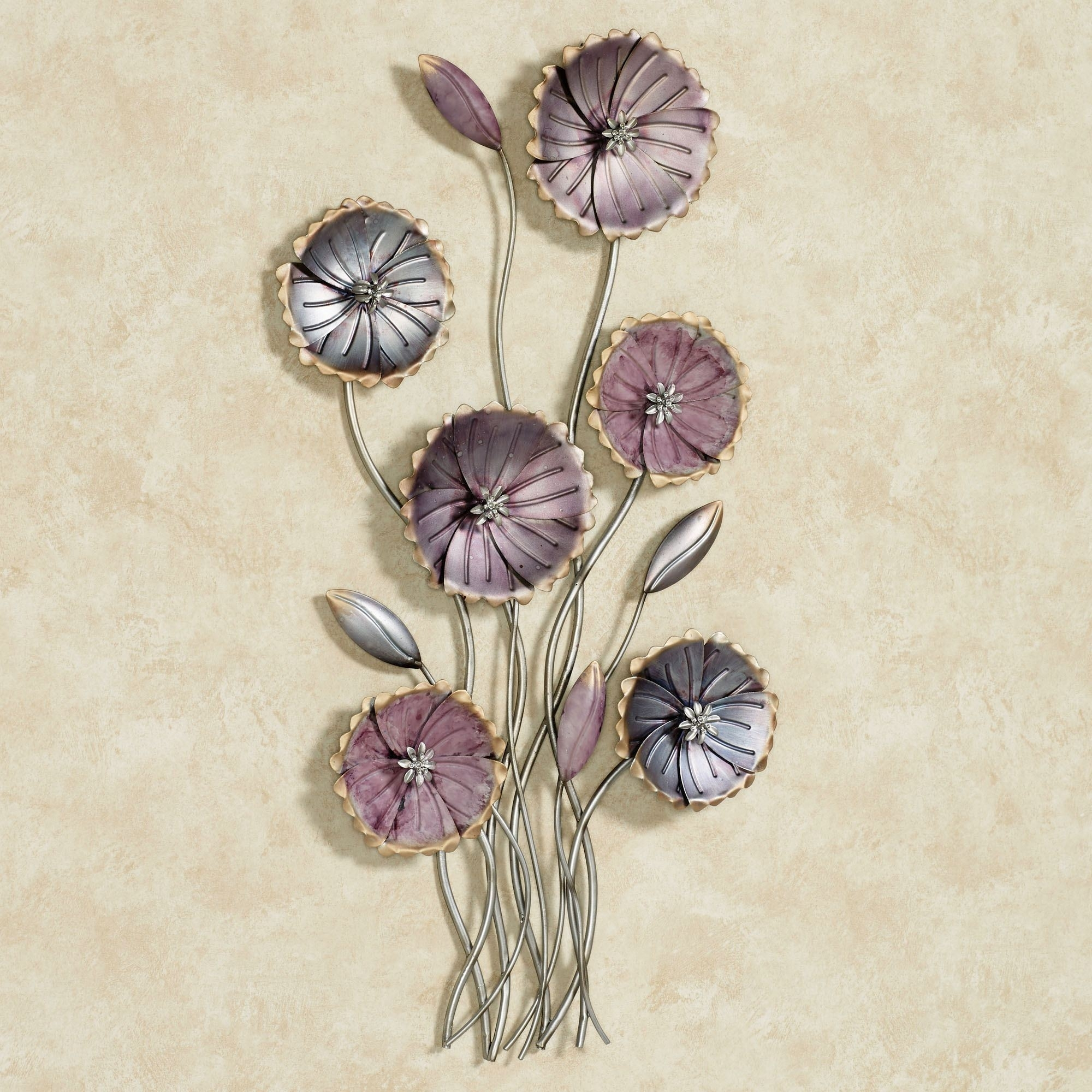 Charming Floral Array Purple Metal Wall Art, Metal Flower Wall Art In Metal Flower Wall Art (View 14 of 20)