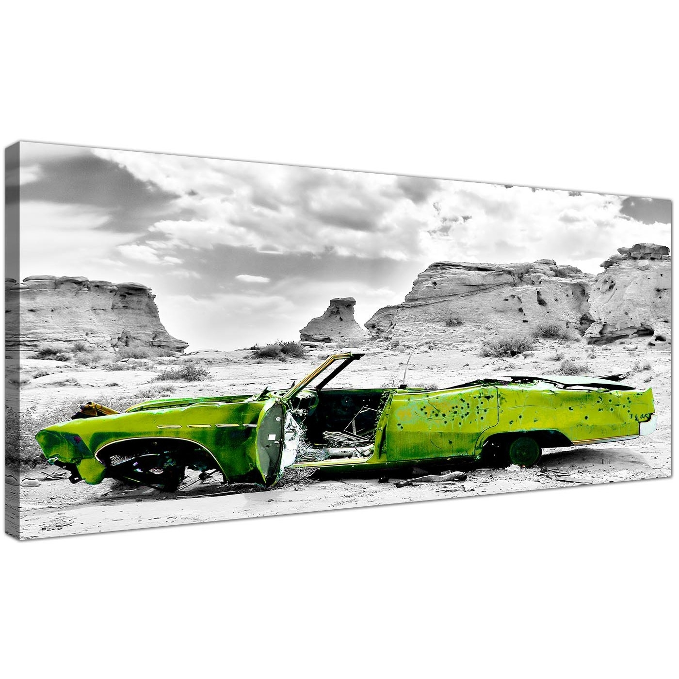Cheap Black And White Canvas Wall Art Of A Green Car in Car Canvas Wall Art (Image 15 of 20)