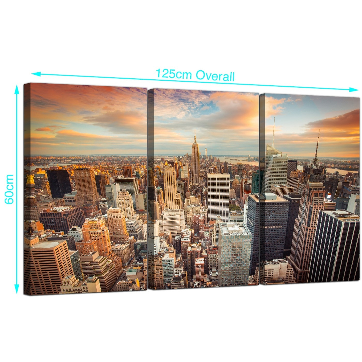 Cheap New York Skyline Canvas Wall Art 3 Panel For Your Living Room With New York Canvas Wall Art (View 2 of 20)
