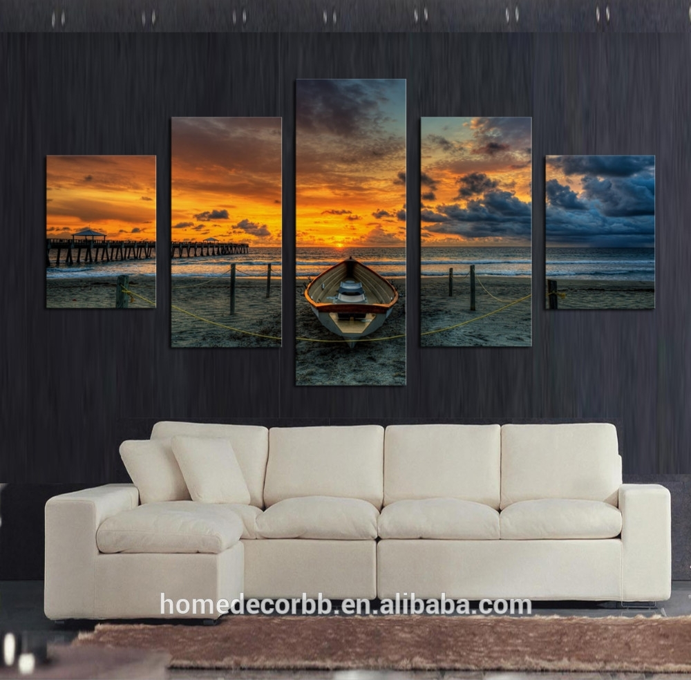 Cheap Wall Art Canvas Paintings,5 Set Seascape Sunset View Canvas throughout Cheap Wall Art (Image 6 of 20)