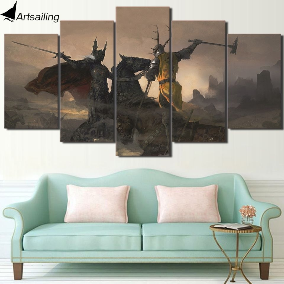 Check Discount Hd Print 5 Piece Canvas Art Game Of Thrones Painting With Discount Wall Art (View 15 of 20)