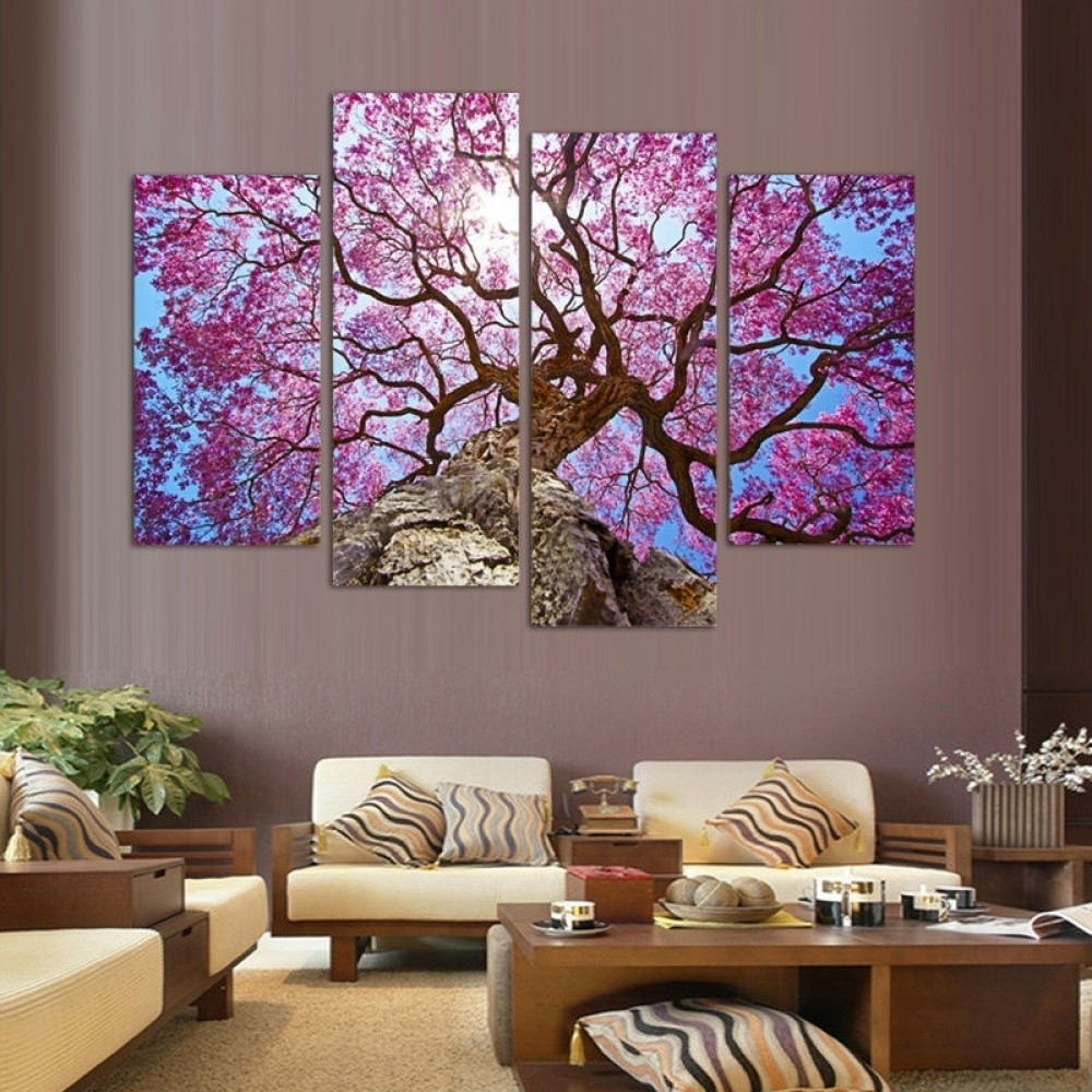 Cherry Blossoms Wall Art Oil Painting within Cherry Blossom Wall Art (Image 11 of 20)
