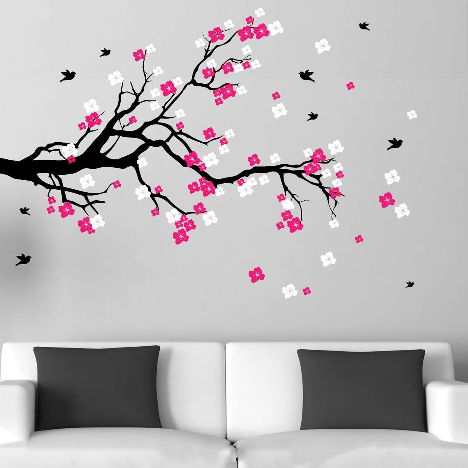 Cherry (Red) Blossom Branch With Birds Vinyl Wall Art Decal (Black within Cherry Blossom Wall Art (Image 8 of 20)