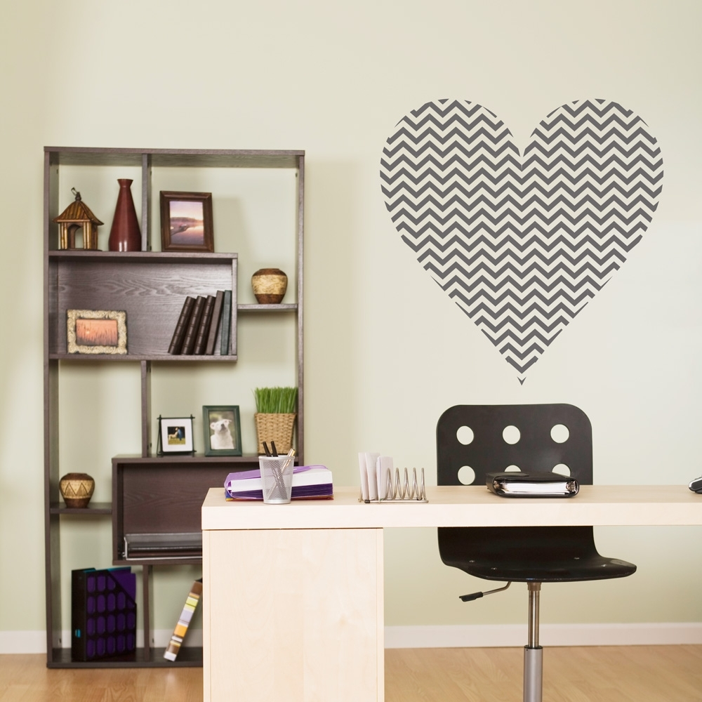Chevron Heart Wall Decal Vinyl Words Lettering Decor Sticker Bedroom with Chevron Wall Art (Image 5 of 20)