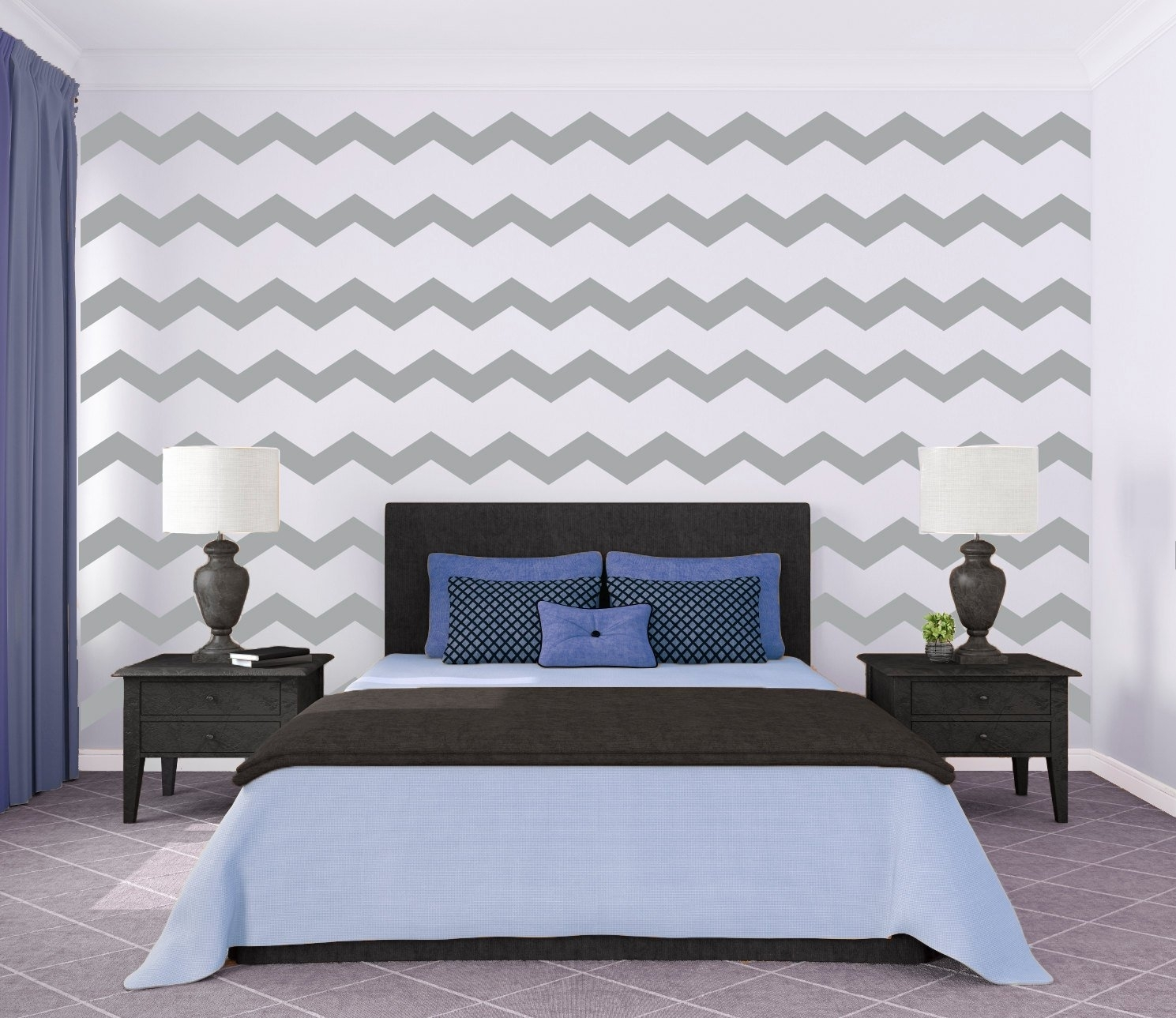 Chevron Wall Pattern Large Wall Decal Custom Vinyl Art, Chevron Wall within Chevron Wall Art (Image 11 of 20)
