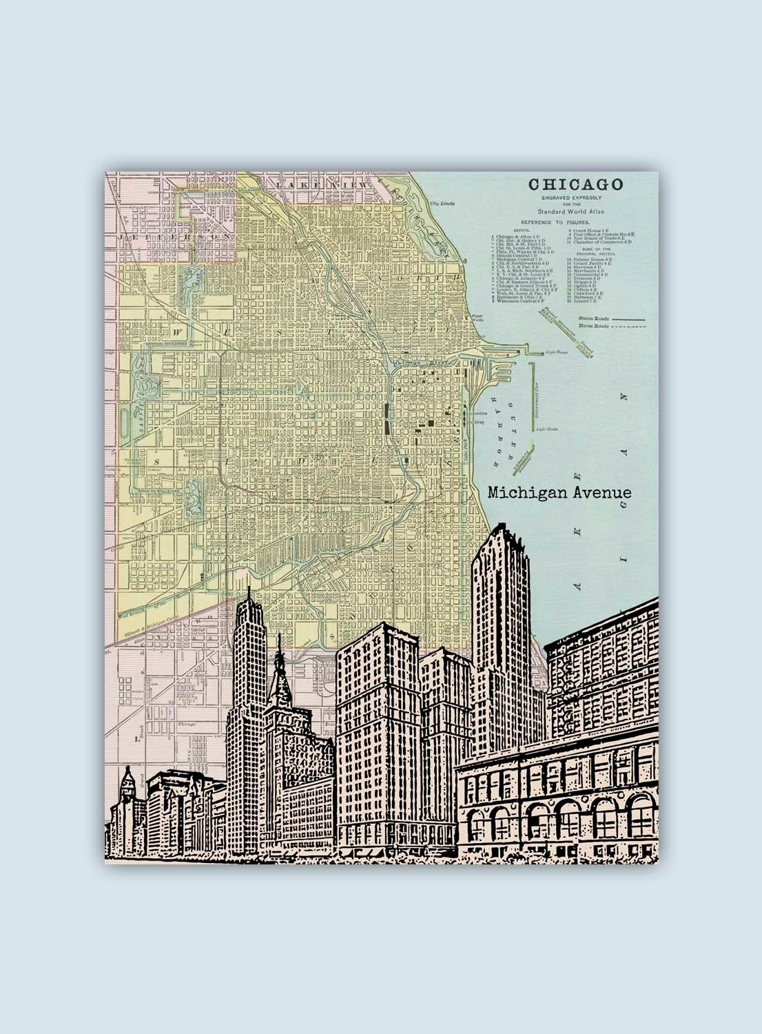 Chicago Art Print Chicago Map Chicago Wall Art Personalized | Etsy regarding Chicago Map Wall Art (Image 3 of 20)
