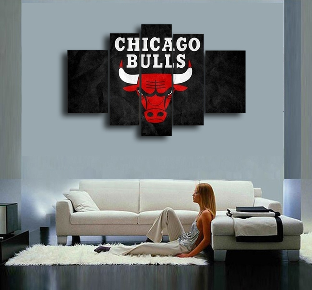 Chicago Bulls Hand Painted Wall Art Canvas Decoration Abstract Oil inside Chicago Wall Art (Image 6 of 20)