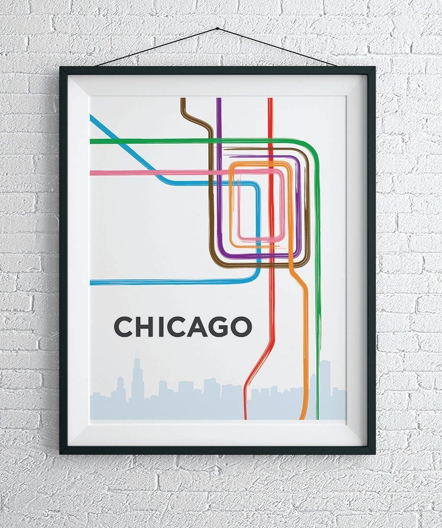 Chicago L Train Map Print / Chicago Loop Wall Art | Etsy Pertaining To Chicago Map Wall Art (View 4 of 20)