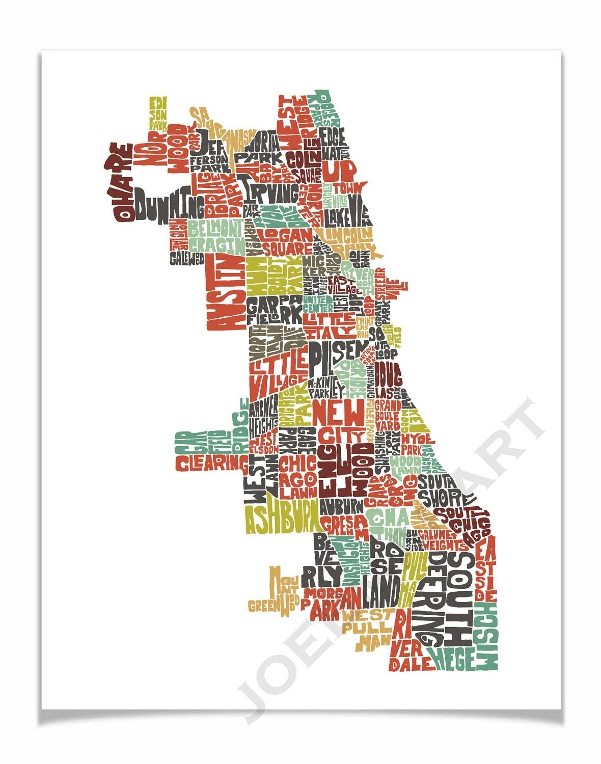 Chicago Map Art, Chicago Art Print, Chicago Typography Map, Map Of regarding Chicago Map Wall Art (Image 5 of 20)