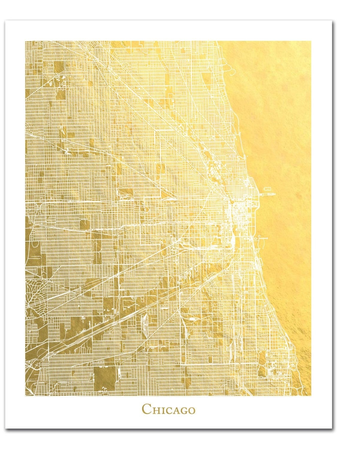 Chicago Map, Chicago Print, Gold Foil Print, Gold Foil Map™, Chicago in Chicago Map Wall Art (Image 11 of 20)