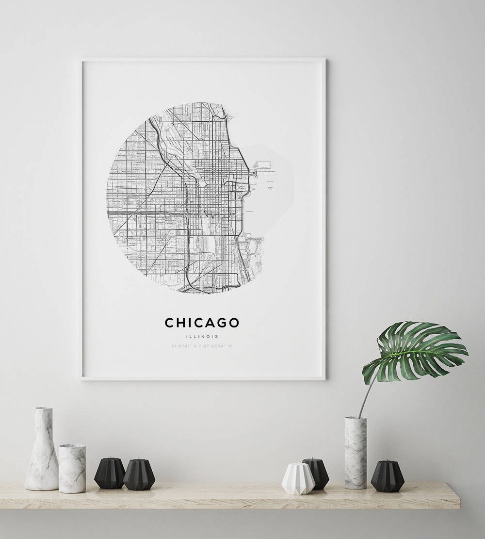 Chicago Map Poster, Us Map Print, Street Map Print, Illinois Map regarding Chicago Map Wall Art (Image 8 of 20)