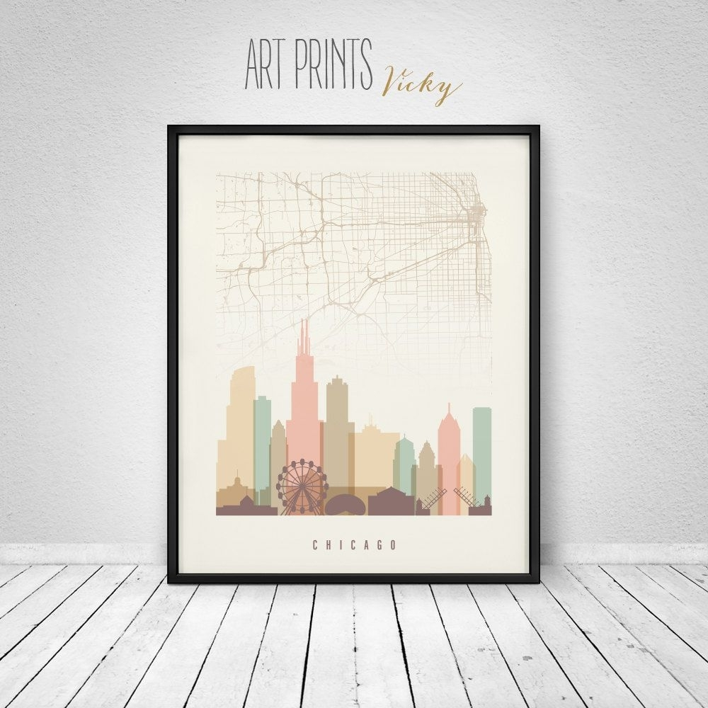Chicago Map Print, Poster, Chicago Skyline, Chicago Wall Art inside Chicago Map Wall Art (Image 9 of 20)