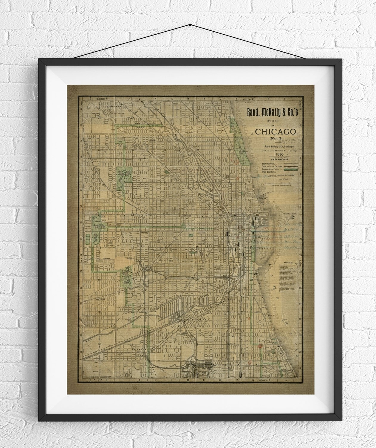 Chicago Map Print, Vintage Map Art, Antique Map, Chicago Wall Art Intended For Chicago Map Wall Art (View 10 of 20)