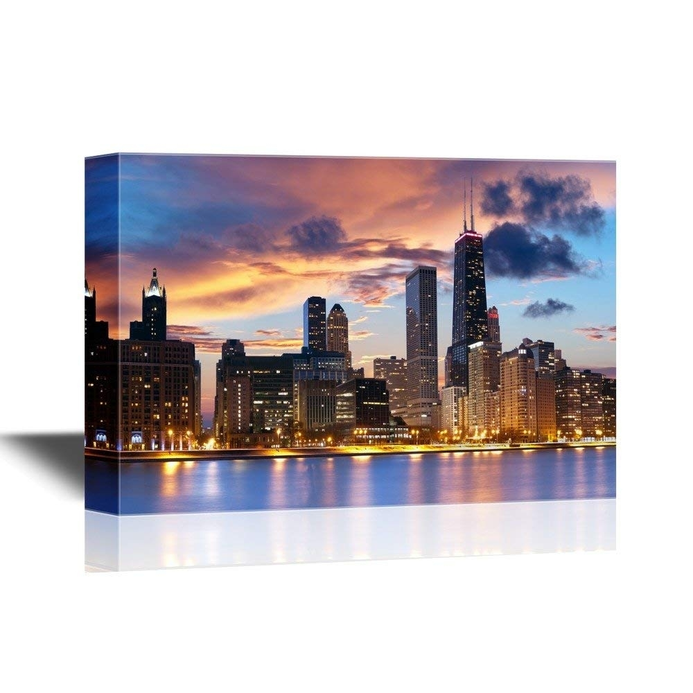 Chicago Skyline At Dusk Wall Decor - Canvas Art | Wall26 for Chicago Wall Art (Image 8 of 20)