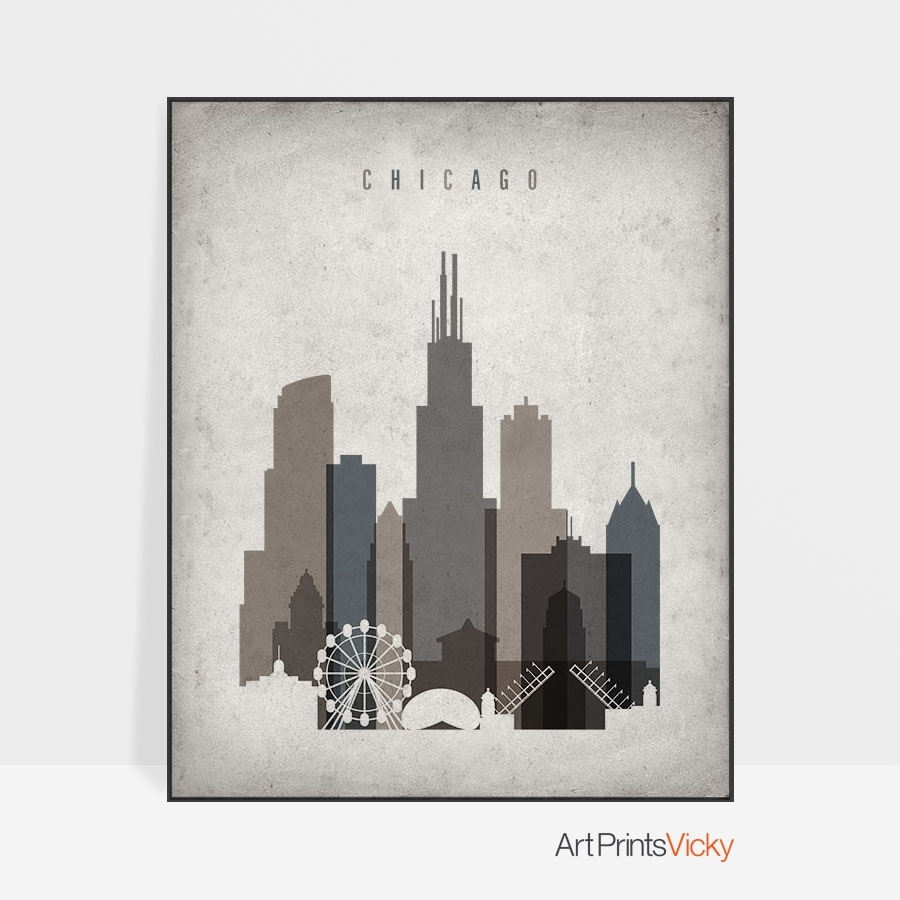 Chicago Skyline Wall Art Retro | Artprintsvicky pertaining to Chicago Wall Art (Image 9 of 20)