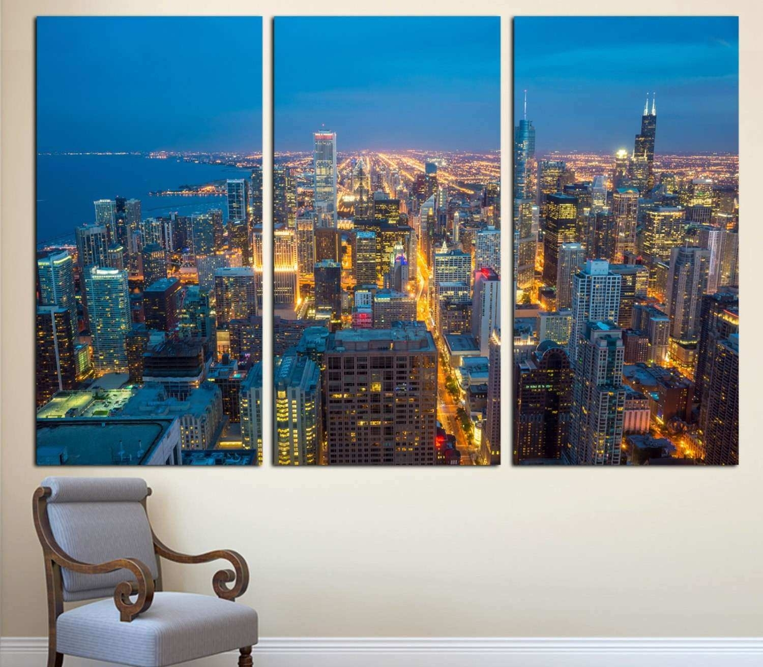 Chicago Wall Art Lovely Chicago City Skyline Art Canvas Print 3 pertaining to Chicago Wall Art (Image 11 of 20)
